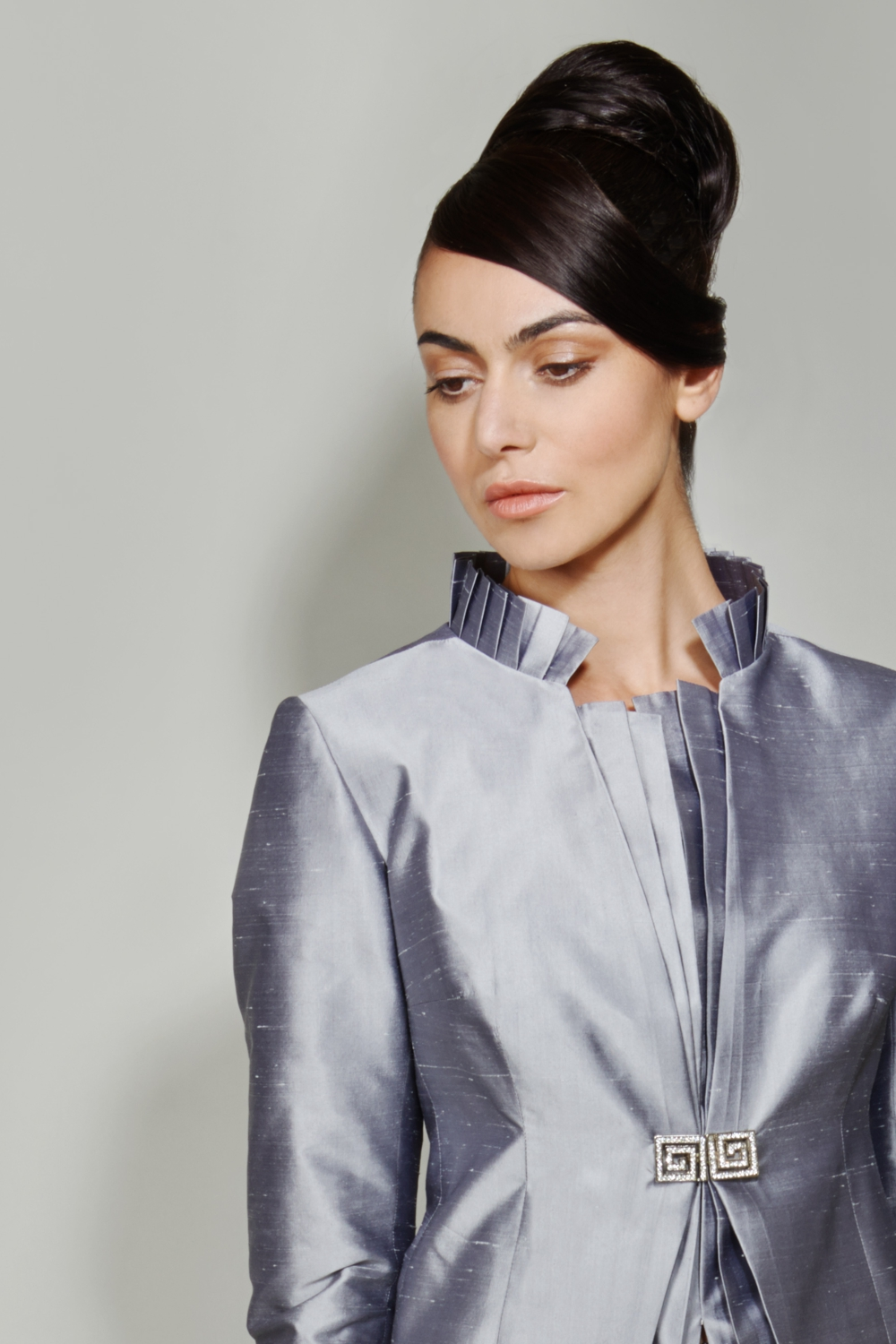 Silver silk jacket with pleated collar detail