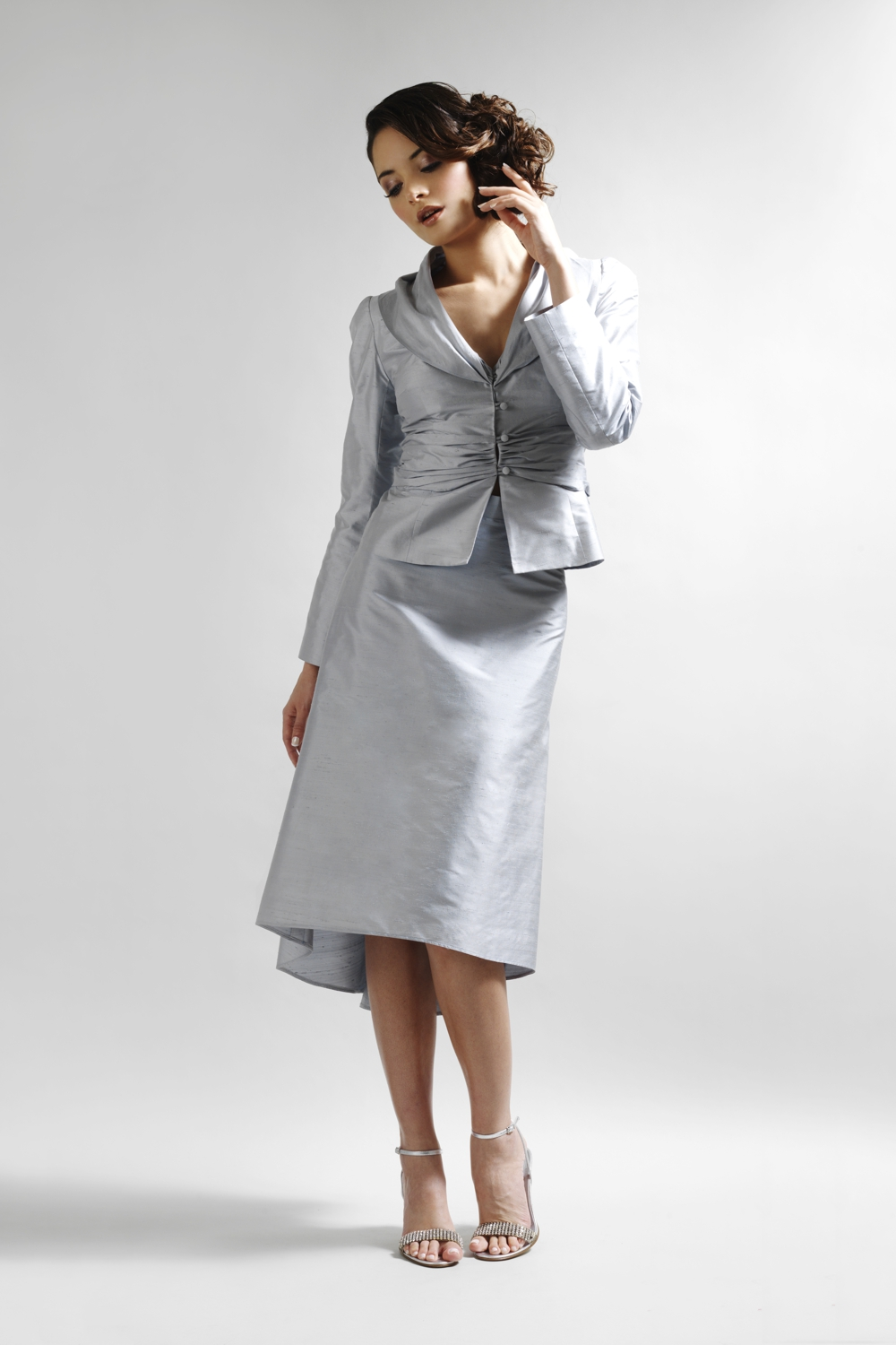 Pale blue silk designer suit