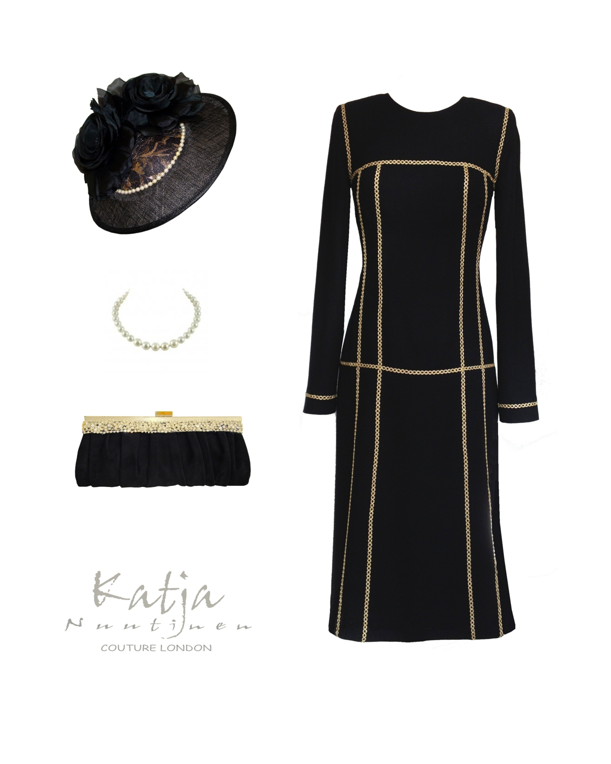 Couture outfit - Black wool dress with gold trim, cocktail hat and suede clutch bag