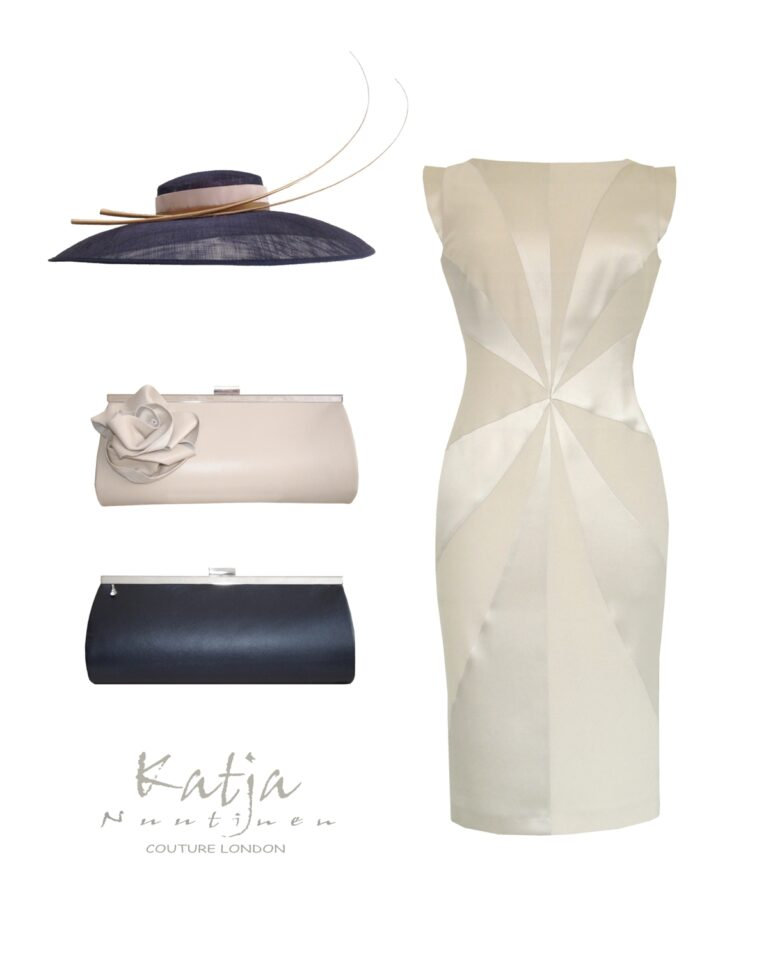 Designer outfit - Cream silk dress, grey hat with quills, nude and grey clutch bag