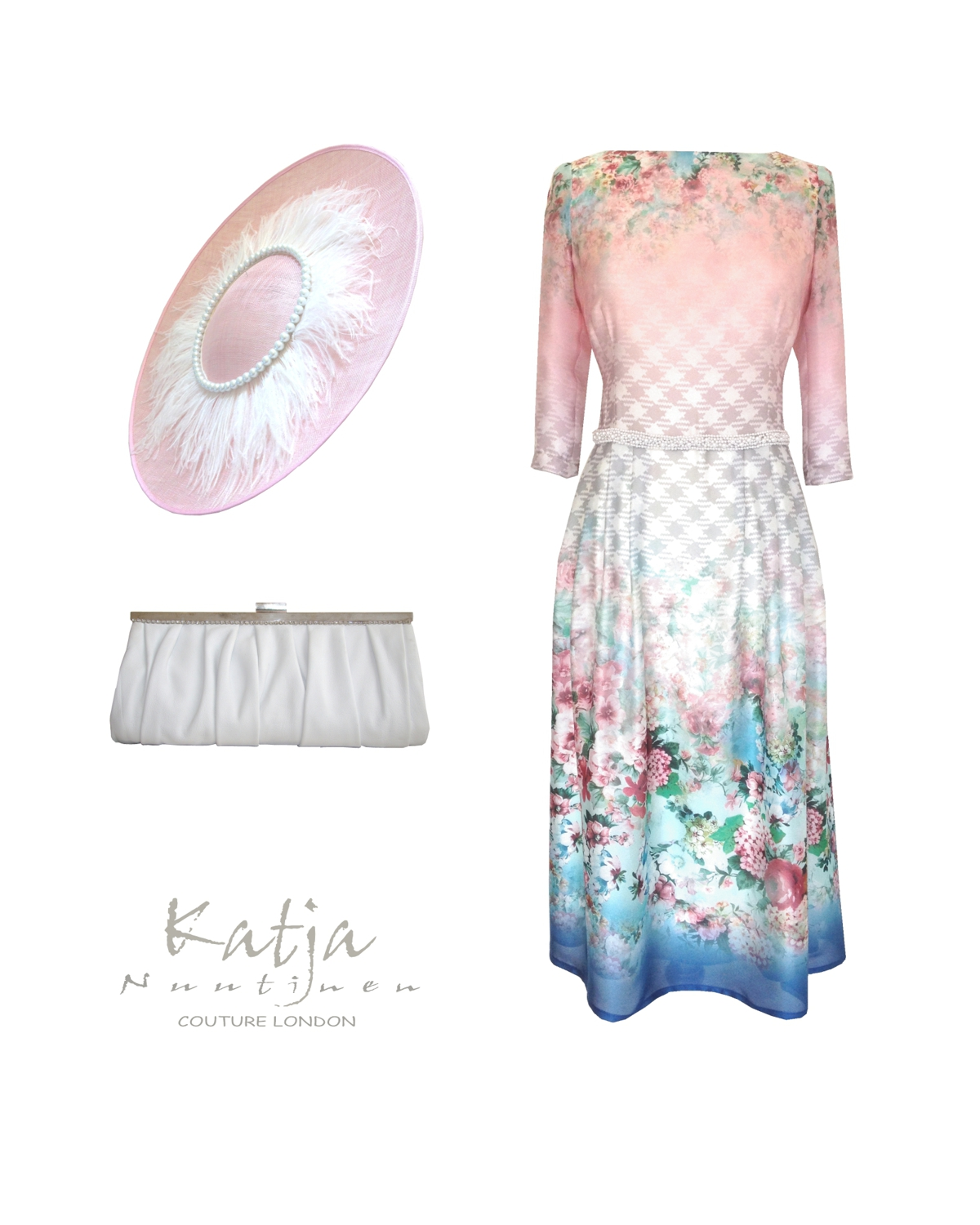 Couture outfit - Flower pattern silk dress, pink disc hat and white leather clutch bag