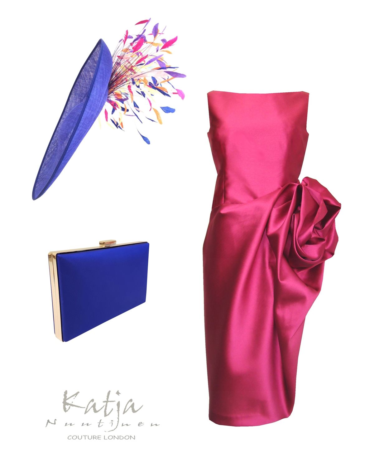 Designer outfit- Fuchsia pink couture dress, royal blue hat and clutch bag