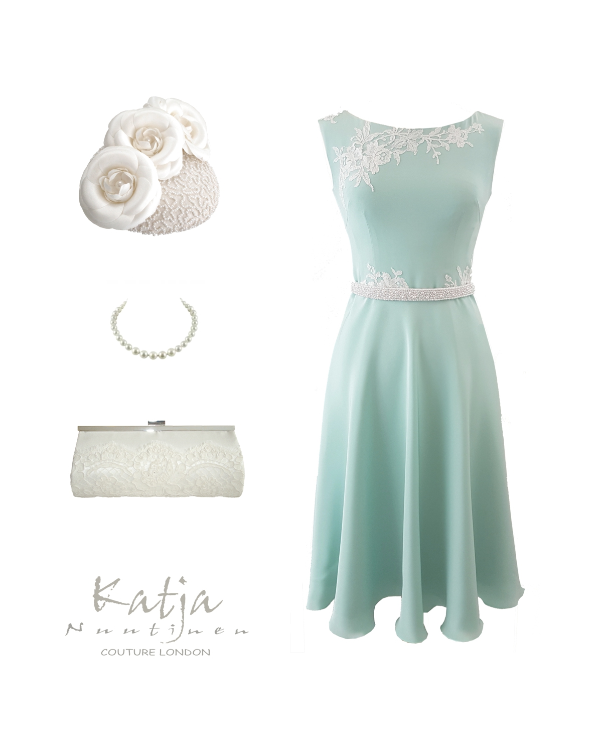 Designer outfit - mint green dress with lace, pillbox hat and lace clutch bag