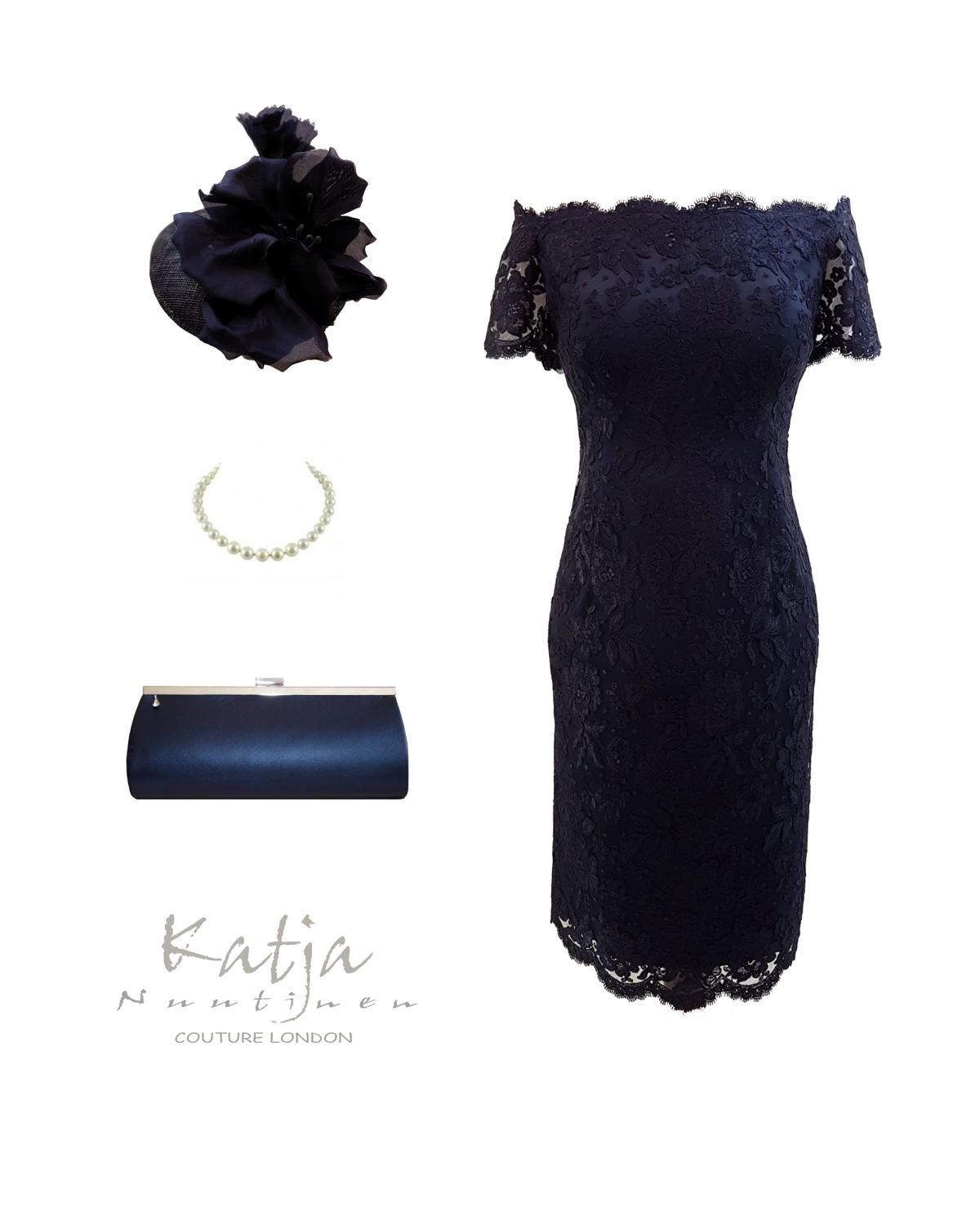 Designer outfit - Navy French lace dress, navy pillbox and leather clutch bag