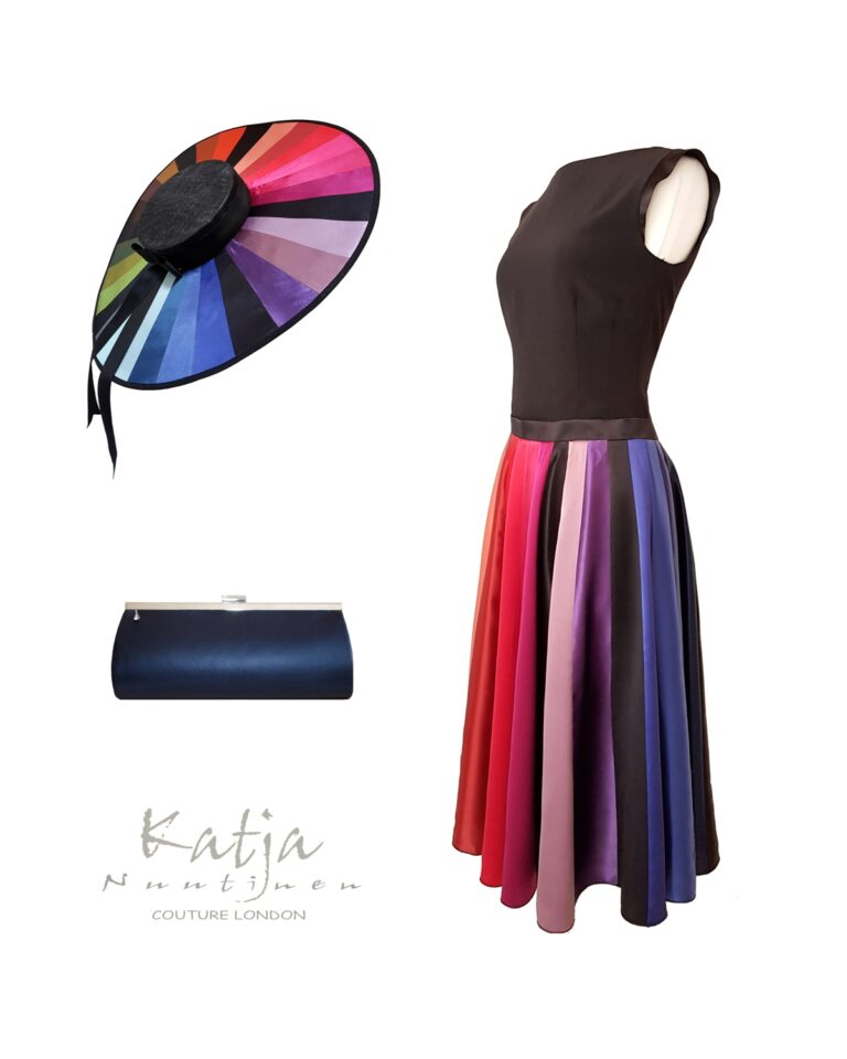 Couture outfit - Rainbow colour silk dress and large hat, navy leather clutch bag