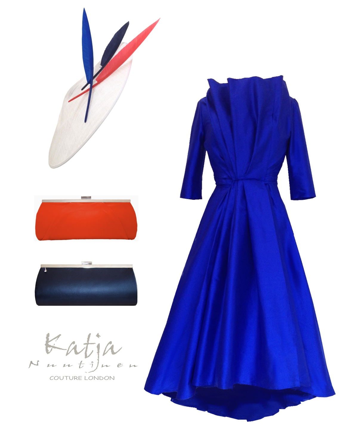 Couture outfit - Royal blue silk tea dress, white disc hat and leather clutch bags