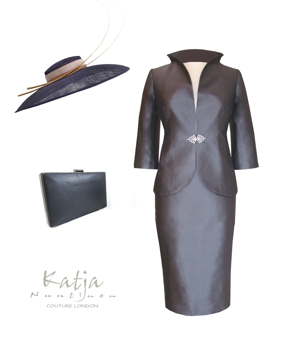 Designer Mother of the bride outfit - grey suit, pewter hat with quills and a matching box clutch