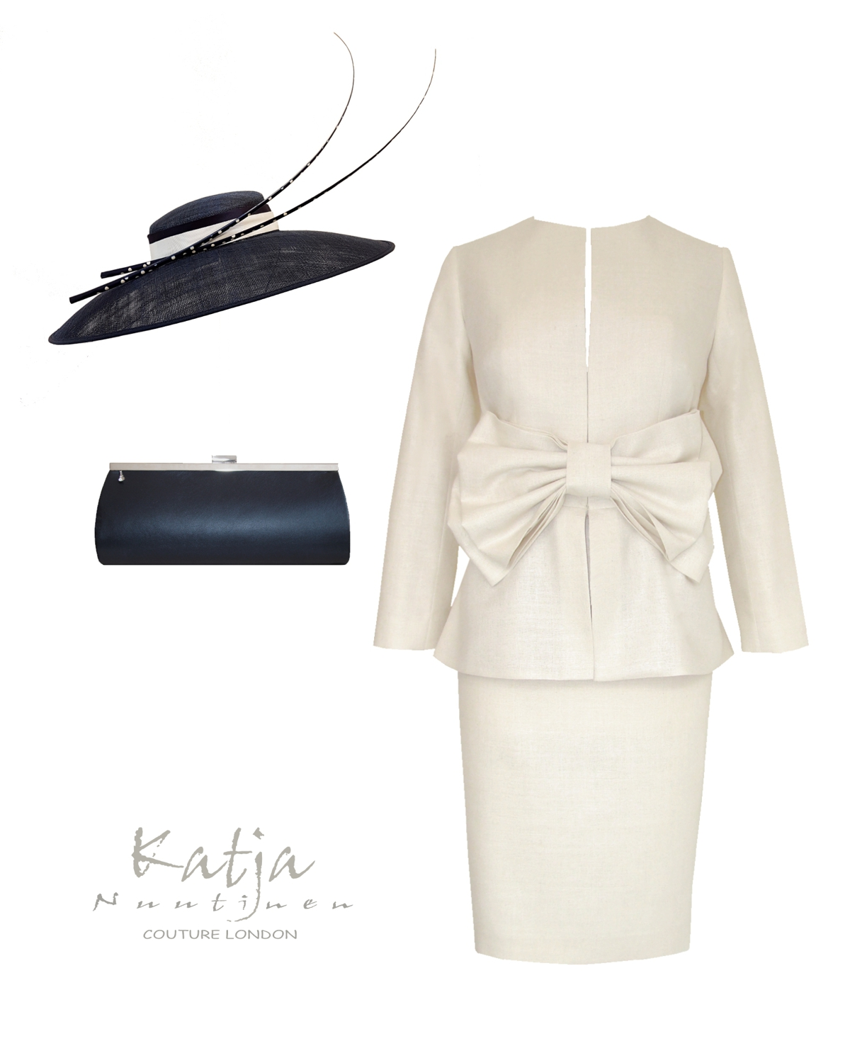 Designer outfit for Mother of the Bride or Groom- cream suit with bow, navy hat and leather clutch bag